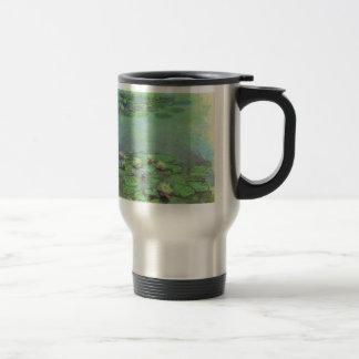 Waterlilies by Monet, Vintage Floral Impressionism 15 Oz Stainless Steel Travel Mug