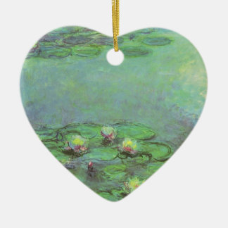 Waterlilies by Monet, Vintage Floral Impressionism Double-Sided Heart Ceramic Christmas Ornament