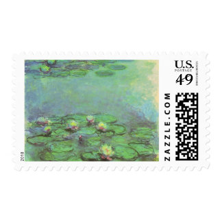 Waterlilies by Monet, Vintage Floral Impressionism Stamps