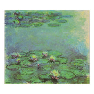 Waterlilies by Monet, Vintage Floral Impressionism Poster