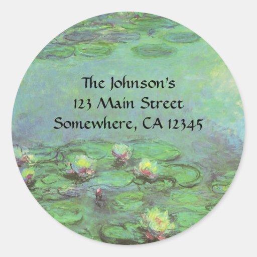 Waterlilies by Monet, Vintage Floral Impressionism Classic Round Sticker