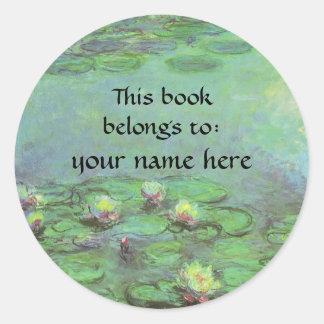 Waterlilies by Monet, Vintage Floral Impressionism Round Sticker