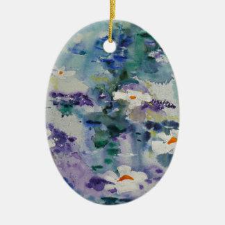 Waterlilies contemporáneos de la bella arte del © ornamento de navidad