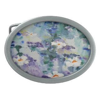 Waterlilies contemporáneos de la bella arte del ©  hebillas cinturon ovales