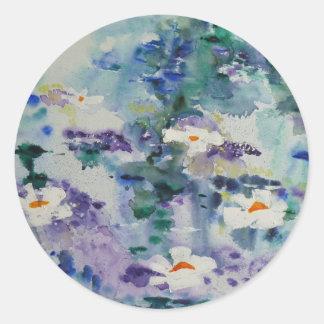 Waterlilies contemporáneos de la bella arte del © etiqueta redonda