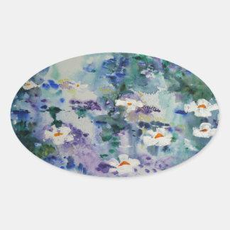 Waterlilies contemporáneos de la bella arte del © pegatinas de óval
