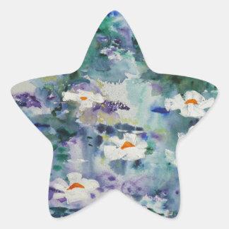 Waterlilies contemporáneos de la bella arte del © calcomanías forma de estrellaes