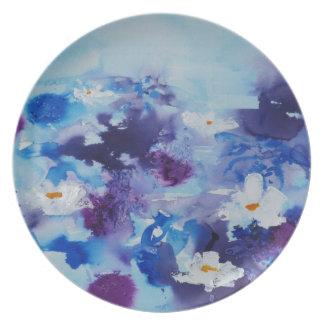 Waterlilies contemporáneos de la bella arte del ©  plato para fiesta
