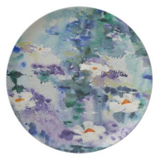 Waterlilies contemporáneos de la bella arte del ©  plato de cena
