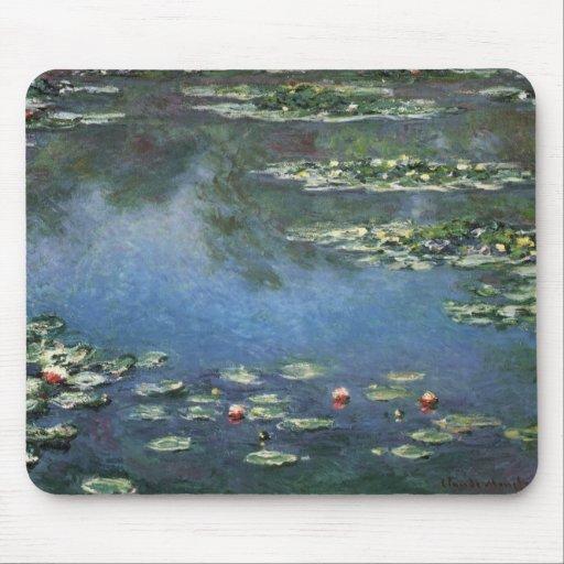 Waterlilies de Claude Monet, flores del vintage Alfombrillas De Ratón