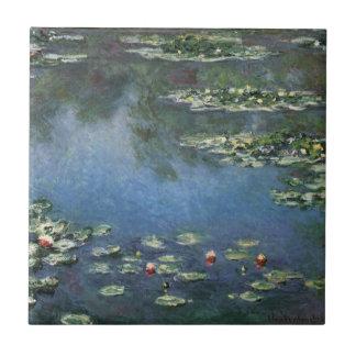 Waterlilies de Claude Monet, flores del vintage Azulejo Cuadrado Pequeño