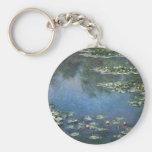 Waterlilies de Claude Monet, flores del vintage Llavero Redondo Tipo Pin