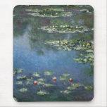 Waterlilies de Claude Monet, flores del vintage Mouse Pad