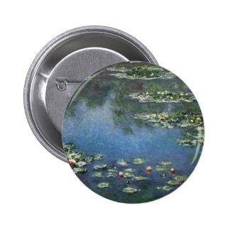 Waterlilies de Claude Monet, flores del vintage Pin Redondo De 2 Pulgadas