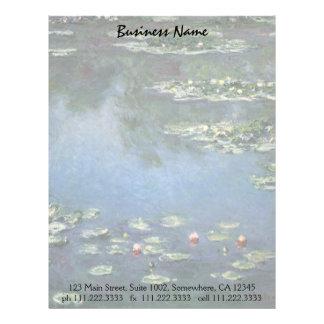 Waterlilies de Claude Monet, flores del vintage Plantilla De Membrete
