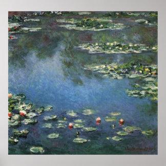 Waterlilies de Claude Monet, flores del vintage Póster