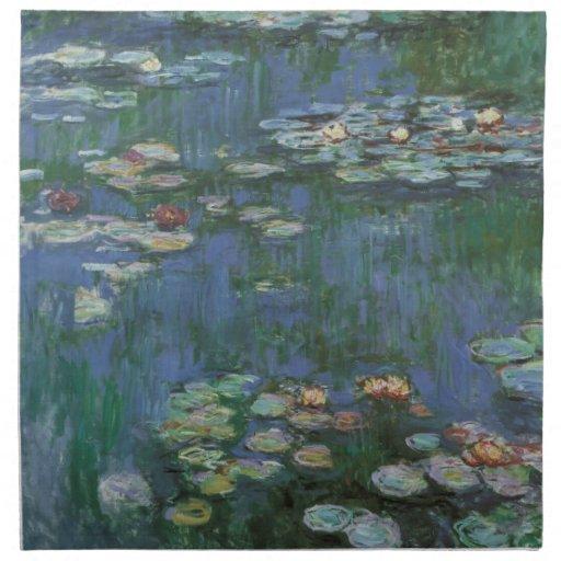 Waterlilies de Claude Monet, impresionismo del Servilleta