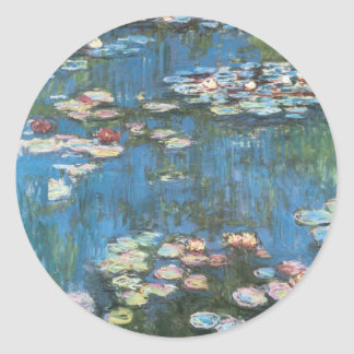 Waterlilies de Claude Monet impresionismo del vin Etiqueta Redonda
