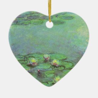 Waterlilies de Monet, impresionismo floral del Adorno De Cerámica En Forma De Corazón
