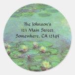 Waterlilies de Monet, impresionismo floral del Etiquetas Redondas