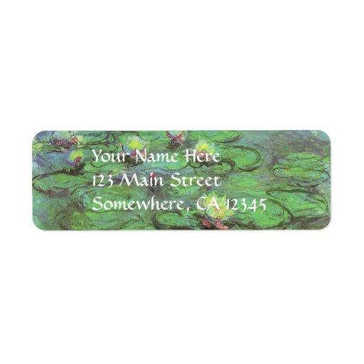Waterlilies de Monet, impresionismo floral del vin Etiqueta De Remite