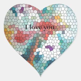 Waterlilies del mosaico del vitral del © P Calcomanías Corazones Personalizadas