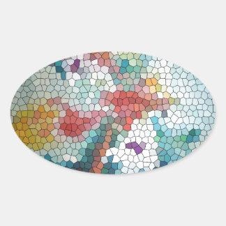Waterlilies del mosaico del vitral del © P Colcomanias Óval Personalizadas