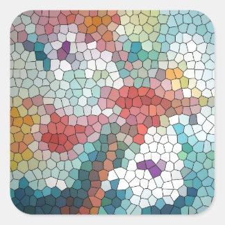 Waterlilies del mosaico del vitral del © P Pegatinas Cuadradas