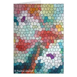 Waterlilies del mosaico del vitral del © P Tarjeta De Felicitación