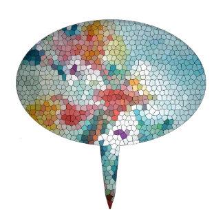 Waterlilies del mosaico del vitral del © P Wherrel Decoración De Tarta