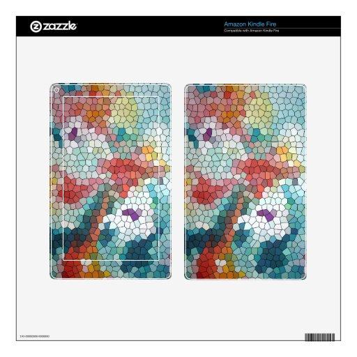 Waterlilies del mosaico del vitral del © P Wherrel Kindle Fire Pegatina Skin