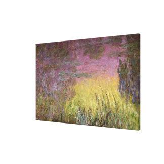 Waterlilies en la puesta del sol, 1915-26 impresión en lona estirada