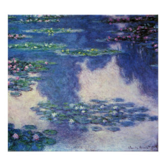 Waterlilies in Pond by Claude Monet, Vintage Art Poster