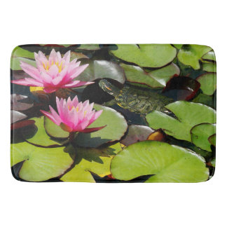 Waterlilies Pond Lilypads Turtle Floral Bath Mat