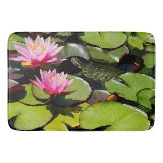 Waterlilies Pond Lilypads Turtle Floral Bath Mat