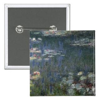 Waterlilies: Reflexiones verdes, 1914-18 Pin Cuadrado