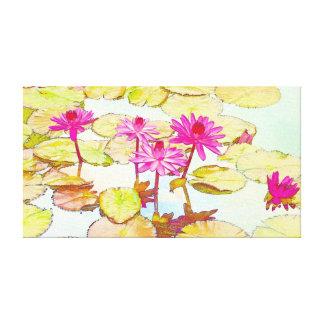 Waterlilies rosado impresión en tela