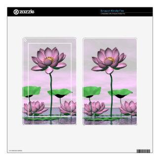 Waterlilies y flores de loto rosados kindle fire skins