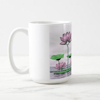 Waterlilies y flores de loto rosados taza de café