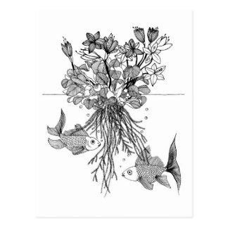 Waterlilies y goldfishes tarjetas postales