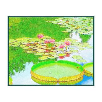 Waterlilies y Lilypad gigante Impresión En Lienzo