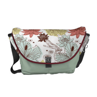 waterlillies and dragonflies messenger bag