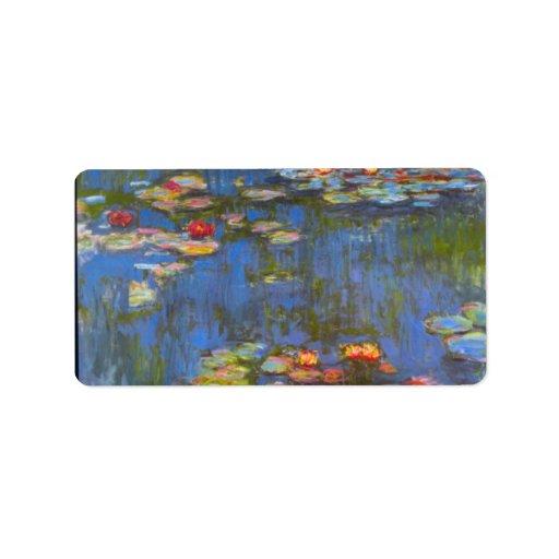 Waterlillies by Claude Monet Custom Address Labels