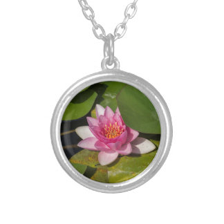waterlily in the lake silver plated necklace