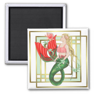Waterlily Mermaid 2 Inch Square Magnet