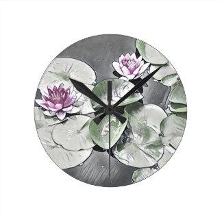 Waterlily pond illustration round clock