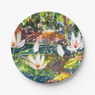 Waterlily pond party plate