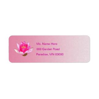 Waterlily rosado etiquetas de remite