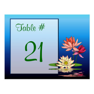 Waterlily Table Number Card