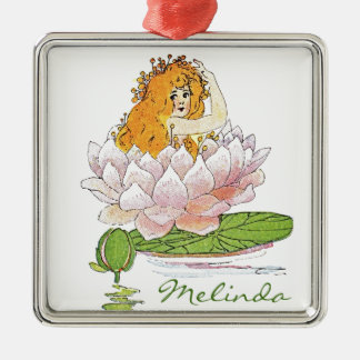 Waterliy, Lily pad customized fairy Square Metal Christmas Ornament